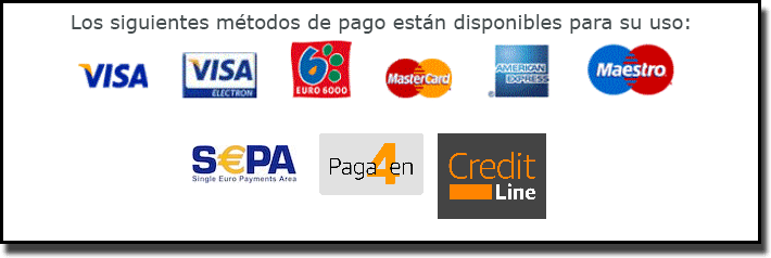 Métodos de pago disponibles